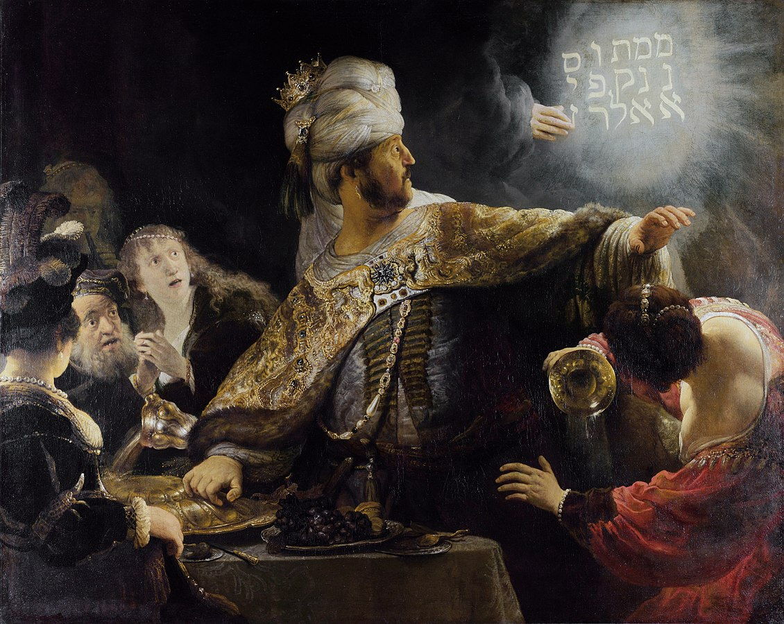 "Rembrandt, Belshazzar's Feast, 1635, (National Gallery, London). The message is written in vertical lines starting at the top right corner, with ""upharsin"" taking two lines."