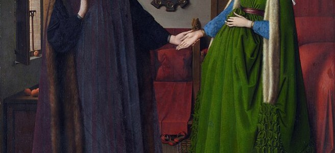 Van Eyck - Untitled, known in English as The Arnolfini Portrait, The Arnolfini Wedding, The Arnolfini Marriage, The Arnolfini Double Portrait, or Portrait of Giovanni Arnolfini and his Wife