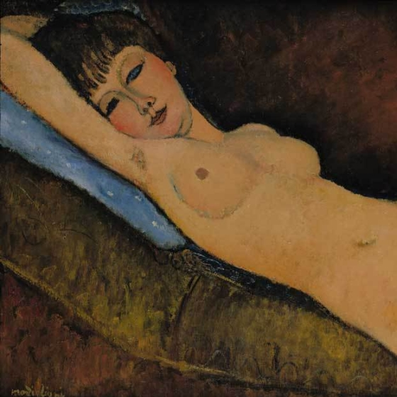 Nu Couché au coussin Bleu, one of the finest examples of reclining nudes by Modigliani, 1916